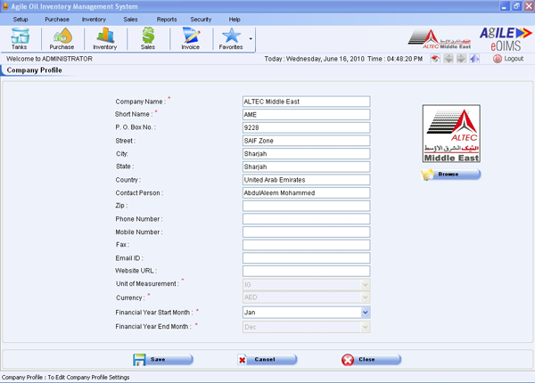 Oil and Gas Inventory Management System – ALTECiSyS